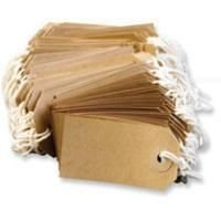 100 x Manilla Buff Strung Tags Tickets 96mm 48mm Luggage Labels ()