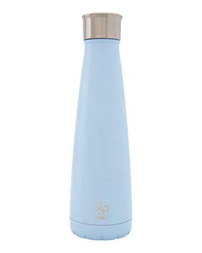 S'well 200115451 15 oz S'ip Insulated, Double-Walled Stainless Steel Water Bottle, Cotton Candy Blue 15oz