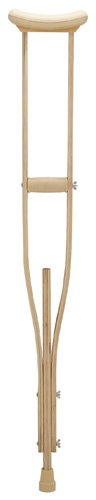 Crutches - Child Laminated wood crutches with accessories attached are shrink wrapped and include one pair each of arm cushions, closed hand grips and size #50001 crutch tips, assembled. Recommended patient height for child size is 3'4'' to 4'3''. Crutch he