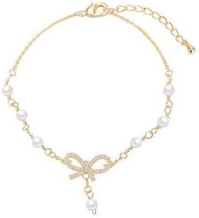 Regalo de pulsera para el Día de la Madre Regalo de joyería de cumpleaños para mujeres Pulseras para mujer Brazalete de perlas, agua dulce Perla blanca con circonita cúbica brillantepara mujer
