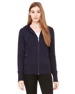 Bella Women's French Terry Lounge Full Zipper Hooded Pullover, midnight, Medium ()