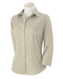 (Van Heusen Ladies 3/4 Sleeve Dress Twill Shirt, Sandstone, Large)