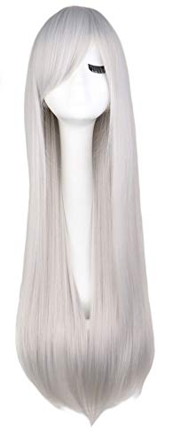Long Straight Cosplay Wig Black Purple Pink Blue Sliver Gray Blonde White Orange Brown 80 Cm Synthetic Hair Wigs,Silver -