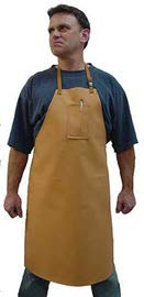 Stanco Safety Products 24'' X 18'' Rust Brown Cotton Flame Resistant Bib Apron with String Tie Closure and Belly Patch (8 Pack)