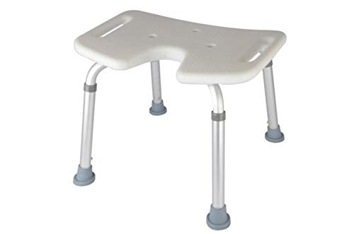 Shower Stool Adjustable Height Professional Bathroom Chair Skidproof Bath Stool for Patients The Old and Pregnant Woman Handicap Shower Seats for Adults (Color : Silver)