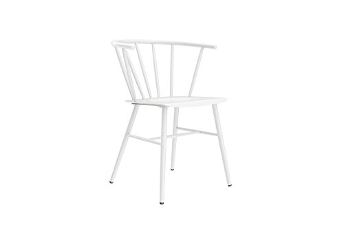 Novogratz Campbell Cottage Dining Chair, Metal Design, White For Sale
