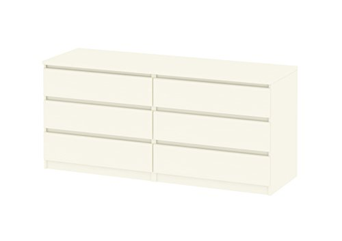Tvilum Scottsdale 6 Drawer Double Dresser, White Wood Grain