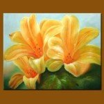 Vivid Handmade Art Crafted Flora Oil Painting-Lily
