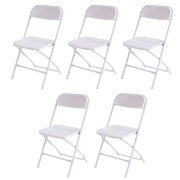 Goplus Set of 5 Plastic Folding Chairs Stackable Wedding Party Event Commercial White