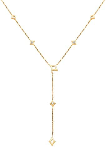 OHMY Diamonds '1/10 cttw Diamond Lariat Necklace' in 14K Gold, 18″ (0.10 cttw, I-J Color, I2-I3 Clarity)