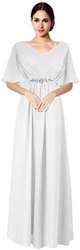 VaniaDress Women V Neck Half Sleeveles Long Evening Dress Formal Gowns V265LF White US16 from VaniaDress