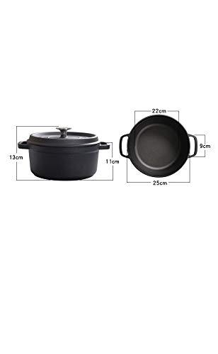 GJJ Cast Iron Pot Cast Iron Cooker, Soup Pot Deepened Uncoated 24Cm,Black,24Cm by GJJ (Image #1)