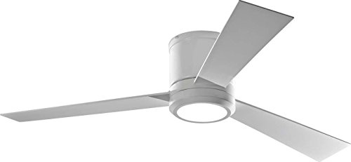 """Monte Carlo 3CLYR52RZWD, Clarity Flush Mount 52"""" White Ceiling Fan with LED Light & Remote"""