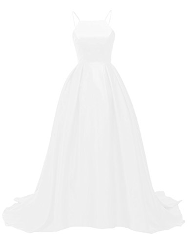 Train Bess White Prom Sweep Bridal Evening A Straps Dress Line Satin Spaghetti Women's qSTxqR0