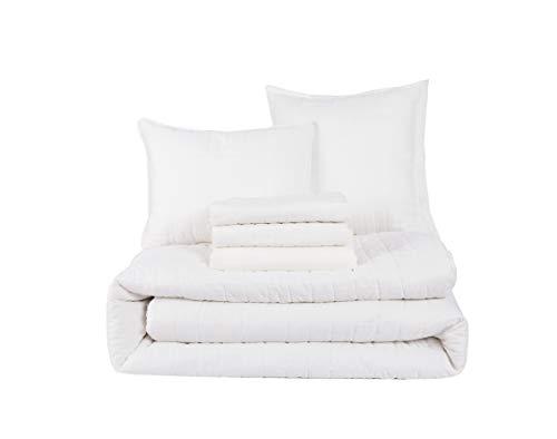 HONEYMOON HOME FASHIONS Queen Comforter Set 6 Piece, 1 x Comforter, 1 x Bedskirt, 2 x Shams and 2 x Decorative Pillows, White