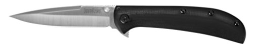 Kershaw AM-3 Pocket Knife (2335); 3.4-Inch Stainless Steel Blade with Satin Finish Features SpeedSafe Assisted Opening, Frame Lock, Contoured G10 Black Handle and Deep-Carry Pocketclip; 2.3 OZ -
