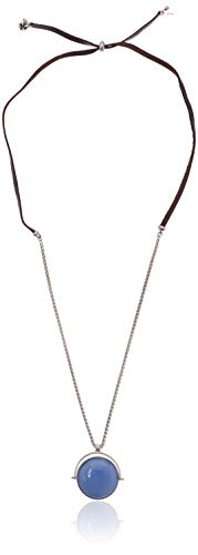 Lucky Brand Women's Mother of Pearl Reversible Leather Pendant Necklace, Silver, One Size