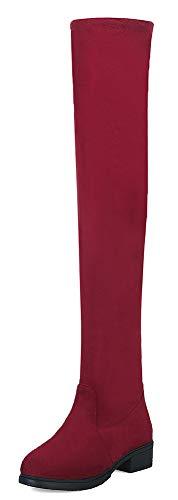 Rouge Femme dessu Au Du Botte Longue Mode Chaude Genou Tige Aisun vOdqvB