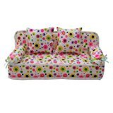 Qiyun Furniture For Barbie Lovely Miniature Furniture Flower Print Sofa Couch With 2 Cushions For - Sf Stores Mall