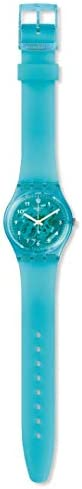 Swatch Gent Lacquered Swiss Quartz Silicone Strap, Blue, 16 Casual Watch (Model: GL123)