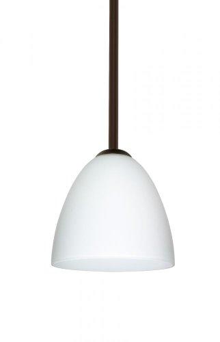 (Besa Lighting 1TT-447007-BR 1X60W A19 Vila Pendant with Opal Matte Glass, Bronze Finish)