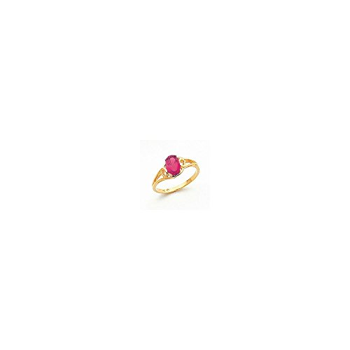Jewelry Adviser Rings 14k 7x5mm Oval Pink Tourmaline ring