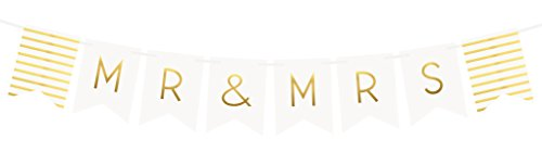 """Mr and Mrs"" Banner – Wedding Decorations for Reception, Bridal Shower and Engagement Photos – Wedding Signs and Banners"