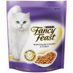 Fancy Cat Food Dry With Savory Chicken &Turkey 16 OZ (Pack of 24)