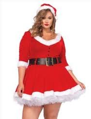 3pc Miss Santa fur Trimmed Velvet Dress,belt,santa Hat 3x-4x Red/white Holiday (Plus Size Miss Santa Costume)