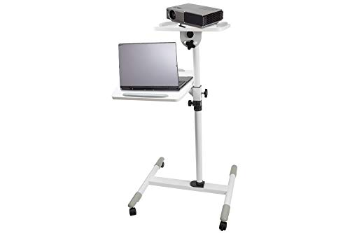 (Proper Adjustable Trolley for Laptop and Projector - White)