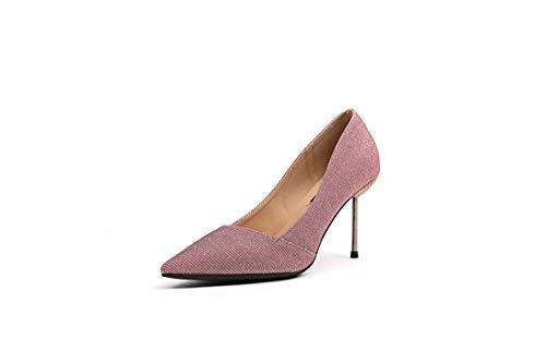 DANDANJIE Calzado De Mujer Zapatos Tacones Tacón De Aguja Tacón De Tacón Zapatos para Fiesta De Boda Pink