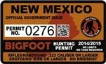 "New Mexico NM Bigfoot Hunting Permit 2.4"" x 4"" Decal Sticker"