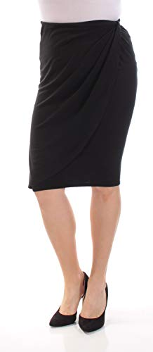 Bar III Womens Draped Faux-Wrap Pencil Skirt Black M ()
