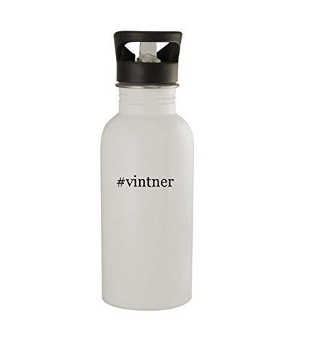 Knick Knack Gifts #Vintner - 20oz Sturdy Hashtag Stainless Steel Water Bottle, White