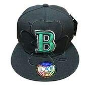 LEADER OF THE GAME Boston Black Hat with Balck 4 Leaf Clover and a Green B in Celtics Colors
