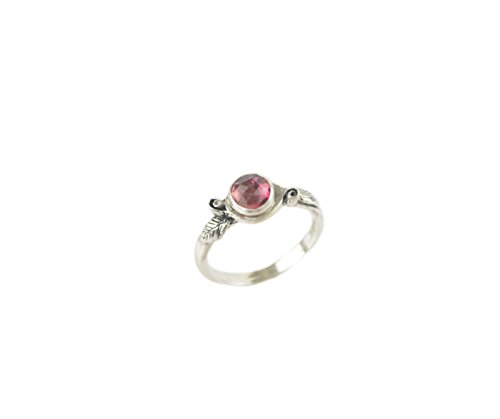 Pink Tourmaline Floral Design - Pink Tourmaline Rose Sterling Silver Ring Romantic Leaf Twig Stack Nature Inspired Jewelry