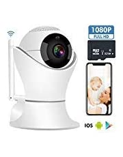 Wireless IP Camera HD 1080P, WiFi Home Security Surveillance IP Camera Remote View for Elder/Office/Baby Monitor with SD Card, 360° Rotatable and PTZ Two Way Audio Motion Detection Night Vision