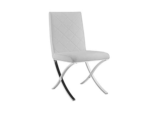 White Eco-Leather Guest or Conference Chair with Criss-Cross Base(Set of 2)