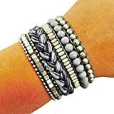 Fashion Bracelet for FitBit Flex, Avia, or Misfit Activity Tracker - The ROSIE Beaded and Braided Snap Bracelet in Grey - Activity Tracker Not Included