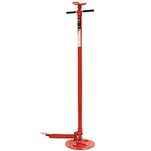 Sunex 6810, Underhoist Support Stand with Foot Pedal, ¾ Ton Capacity, Large Base, Bearing Mounted Spin Handle, Easy Turning, Height Adjustment Under Load, Contoured Saddle, Easy Handling, Lightweight, Supports Vehicle Components Only