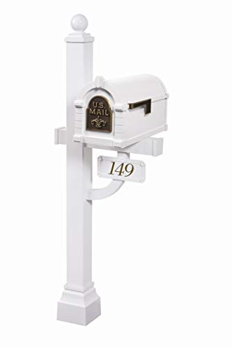 Gaines - Fleur De Lis Keystone Series Custom Mailbox Set (White/Antique -