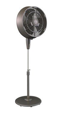 "Pelonis FS45-9L 18"" 3-Speed Oscillating Misting Pedestal Fan 3, Black"