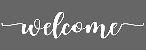 Welcome Vinyl - Wheeler3Designs Welcome Farmhouse Font White 19in x 4in Vinyl Decal