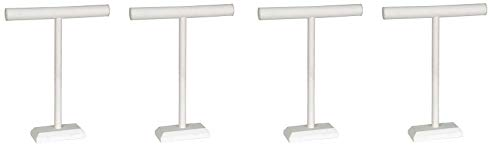 KC Store Fixtures 49134 Jewelry T-Bar Display for Necklace and Bracelets, White Leatherette, 18 Inches High (4-(Pack))