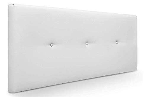 Muebles Pejecar Cabeceros de Camas 150 cm Nora, Cabecero Tapizado Color Blanco (160 cm de Ancho x 50 cm de Alto)