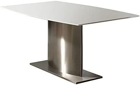 Pemberly Row Marble Top Dining Table with Stainless Steel Base in White