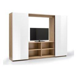 Mobile Tv Ante Scorrevoli.Mobile Parete Porta Tv Con 2 Ante Scorrevoli In Rovere E Bianco