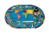 Joy Carpets Kid Essentials Early Childhood Oval Hands Around The World Rug, Multicolored, 7'8'' x 10'9'' by Joy Carpets