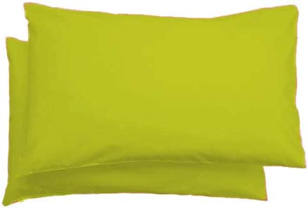 A R Plain Dyed Polycotton Pair Pack Of Housewife Pillow Cases Multiple Colors Lime Green Amazon Co Uk Kitchen Home