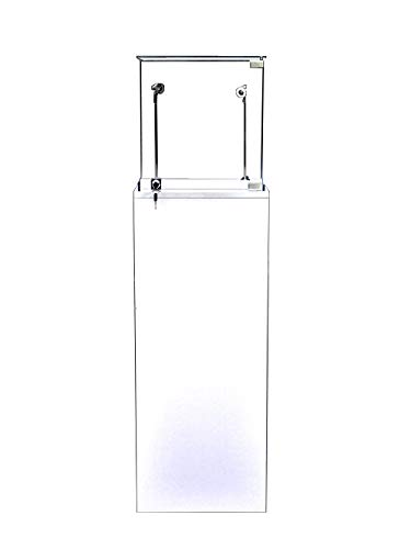 ROXYDISPLAY™ Pedestal Exhibition Stand Display Case Retail, Jewelry Display, Museum, Collectible, Tempered Glass, LED Light. Comes Lock. Size: Large (SC-PED-W-L White)